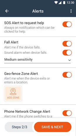 Set up SOS and Fall alerts using the Free Child Tracking App